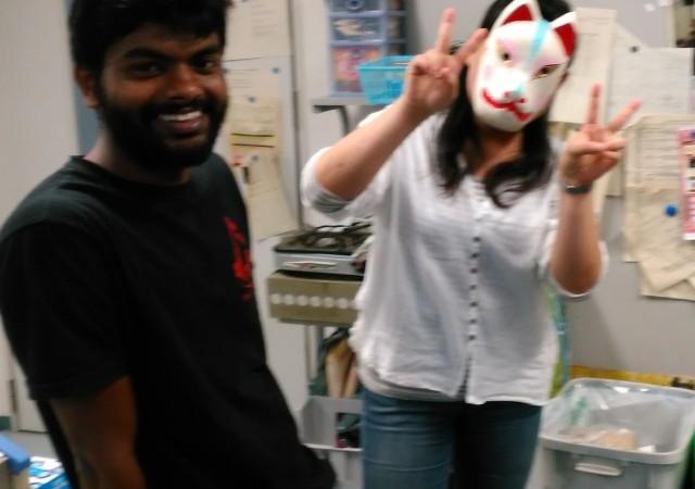 最近森研に加わったインドからの留学生Gintoくんと、4回生の池田さん