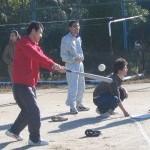 練習。ノックをしているのは水田さんです。